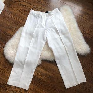 White linen Bergdorf Goodman pants